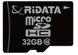 microSD card from RiDATA, with 32GB capacity and speed grade 10
